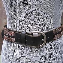 Fossil Leather Applique Belt Metallic Black Size Large  Photo