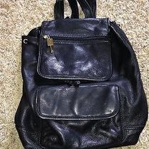 Fossil Leather Backpack Black Leather  Drawstring Backpack Photo