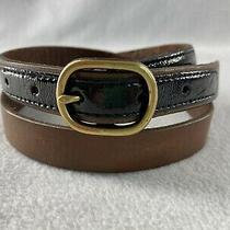 Fossil Leather Belt Brown With Black Patent Accent 7/8