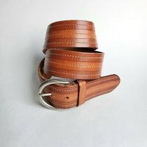 Fossil Leather Belt Lucky Stripes Tan Brown Women's M  Photo