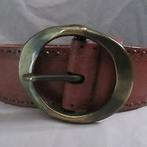 Fossil Leather Belt Size l(32-36) Brown Wide Antiqued Look Finish Buckle Photo