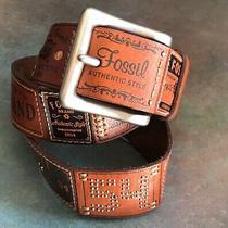 Fossil Leather Belt Size S Vintage Brand Fossil Belt Embossed Belt Photo