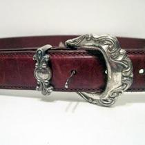 Fossil Leather Belt With Silvertone Hardware Szm Photo