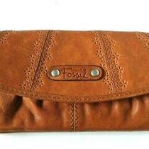 Fossil Leather Bi-Fold Snap Clutch Wallet Zipper Pockets Photo