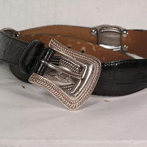 Fossil Leather Black With Concho Silver Tone Belt  M Photo