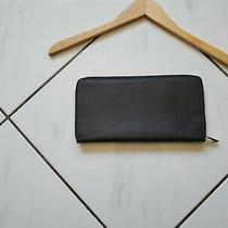 Fossil Leather Black Zip Around Hand Clutch Wallet Card Slots Pocket Case Euc  Photo