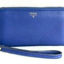 Fossil Leather Blue Wristlet Wallet 7x4 Photo