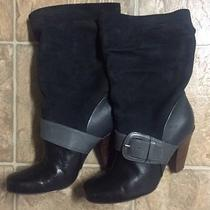 Fossil Leather Boots Womens Grey Black Boot Size 7 Slouchy Suede Wedge Heel Photo