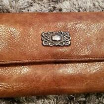 Fossil Leather Brown Bifold Clutch Wallet Organizer Vintage  Photo