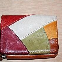 Fossil Leather Brown Multi-Color Patches Bi-Fold Wallet Clutch Vintage Photo