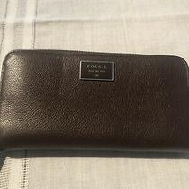 Fossil Leather Brown Pebbled  Wallet  Zip Around New Photo