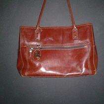 Fossil Leather Business Laptop Tote Shoulder Bag in Burgundy Red 15w X 10hx 5d Photo