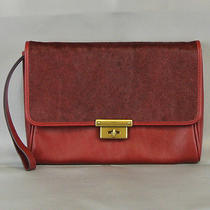 Fossil Leather Calfhair Memoir Diary Clutch Purse Wristlet Like New Red Msr 128 Photo