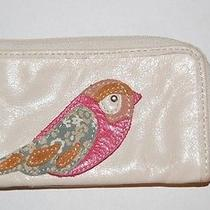 Fossil Leather Change Purse Off-White With Bird Photo