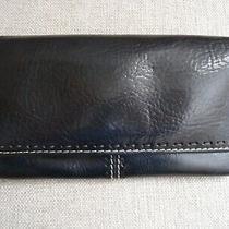 Fossil Leather Checkbook Trifold Envelope Wallet Clutch Women's Black Zip Pocket Photo