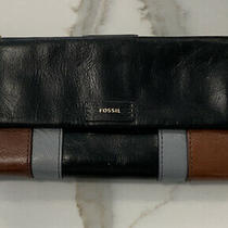 Fossil Leather Clutch Wallet Tri Color Euc  Photo