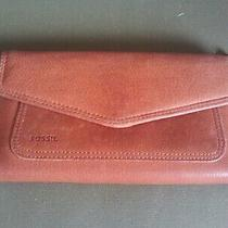 Fossil Leather Clutch Wallet Trifold Brown Credit Card Holder Checkbook Change Photo