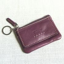 Fossil Leather Credit Card Key Chain Pouch Plum Purple Pebbled Id Slot Case Photo