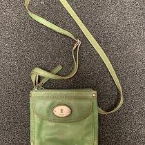 Fossil Leather Crossbody  Bag Purse Green Nice- Photo