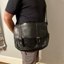 Fossil Leather Crossbody Messenger Black Leather Laptop Bag Unisex Badass Excell Photo