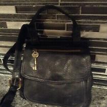 Fossil Leather Crossbody Shoulder Bag Black Small Photo