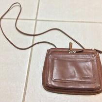 Fossil Leather Crossbody Shoulder Bag Purse With Built in Wallet Organizer Brown Photo