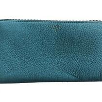 Fossil Leather Envelope Wallet Aqua Blue Pebbled Zip Around Continental Clutch  Photo