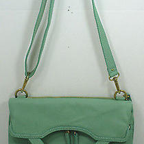 Fossil Leather Erin Foldover Tote Cross Body Handbag & Wallet Set Winter Green  Photo