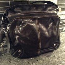 Fossil Leather  Fabric Shoulder Purse Bag Hand Bag  Crossbody Bag Black Photo