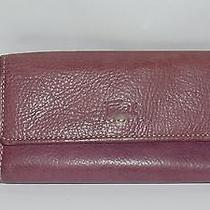 Fossil Leather Flap Wallet Checkbook Org. Purple Photo