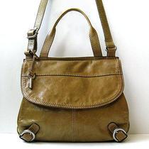 Fossil Leather Handbag Olive Tan Leather Flap Crossbody Organizer Handbag Primo Photo