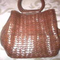 Fossil Leather Handbag. Woven Leather Great Condition Photo