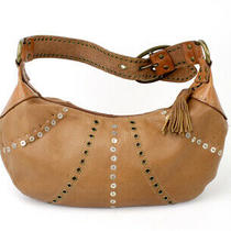 Fossil Leather Hobo Bag Purse Handbag Camel Tan Tassel Fall Photo