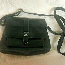 Fossil Leather Kinley Crossbody Bag  Black Pebbled Adjustable Strap Photo