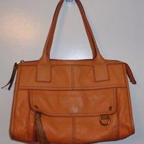 Fossil Leather  Large Tote Shoulder Bag Handbag Purse Orange  Photo