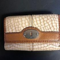 Fossil Leather Maddox Zip Wallet  Tan Cream Brown Snake Skin Nice Photo