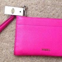 Fossil Leather Medium Wristlet in Hot Pink-New With Tags. Great Gift Item. Photo