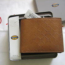 Fossil Leather Mens Hampton Bifold Camel Wallet Ml3442235 New in Box Photo