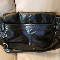 Fossil Leather Messenger Crossbody Laptop Bag Gloss Black. Photo