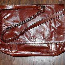 Fossil Leather Messenger Satchel Cognac Brown Tan Photo