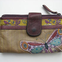 Fossil Leather Multi Butterfly Patchwork Bifold Wallet Birds Super Cute Rustic Photo