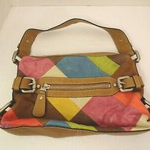 Fossil Leather Patchwork Shoulder Bag Hobo Boho Very Soft Chunky Multi-Color Photo