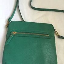 Fossil Leather Purse Crossbody Messenger Pocketbook Malachite Green Summer Bag Photo