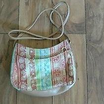Fossil Leather Purse Pretty Summer Colors and Pattern Euc Photo