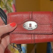 Fossil Leather Red  & Black Wallet Cell Phone Wristlet  Photo