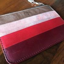 Fossil Leather Red Rose Gold Maroon Striped Wallet Clutch Accessory Zip Strap Photo