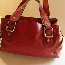 Fossil Leather Red Satchel Leather Handbag Purse Photo