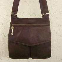 Fossil Leather Shoulder Bag Handbag With Brass Key Charm Saddlebag 75082 Photo