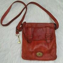 Fossil Leather Small Messenger Bag Crossbody Purse Key Brown Adjustable Strap Photo