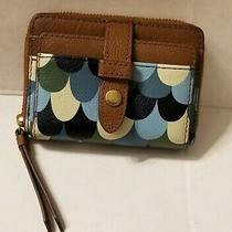 Fossil Leather Small Mini Tab Id Zip Around Card Blue Scallops Brown Wallet New Photo